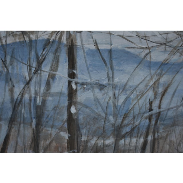 "Stephen Remick Stephen Remick ""Snowy Mountains Through Bare Trees"" Contemporary Landscape Painting For Sale - Image 4 of 12"