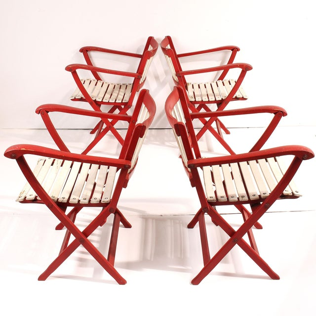 Fratelli Reguitti 1950s Fratelli Reguitti Folding Deck Chairs - Set of 4 For Sale - Image 4 of 10