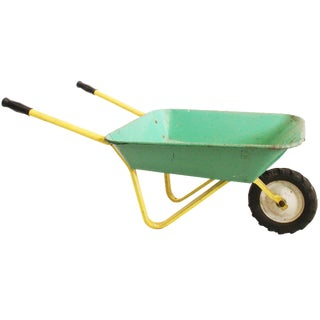 Vintage Rustic Metal Child's Green & Yellow Wheelbarrow