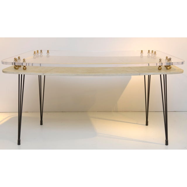 Parchment Covered and Perspex 1950's Desk For Sale - Image 9 of 9