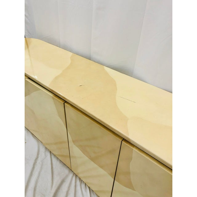 Ecru Vintage Mid Century Modern Brass Wrapped Credenza For Sale - Image 8 of 13