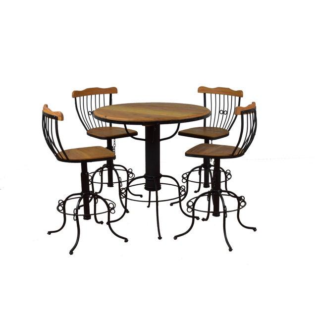 Reclaimed Wood Bistro Set For Sale - Image 4 of 4