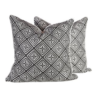Black & Ivory Silk Fiorentina Pillows, a Pair For Sale