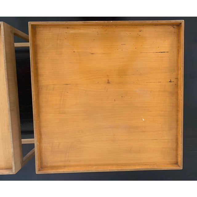 1960s 1960s Mid Century Baker Furniture Wood Side Tables - a Pair For Sale - Image 5 of 7