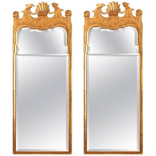 Pair Architectural George I Gilt-Gesso Mirrors For Sale