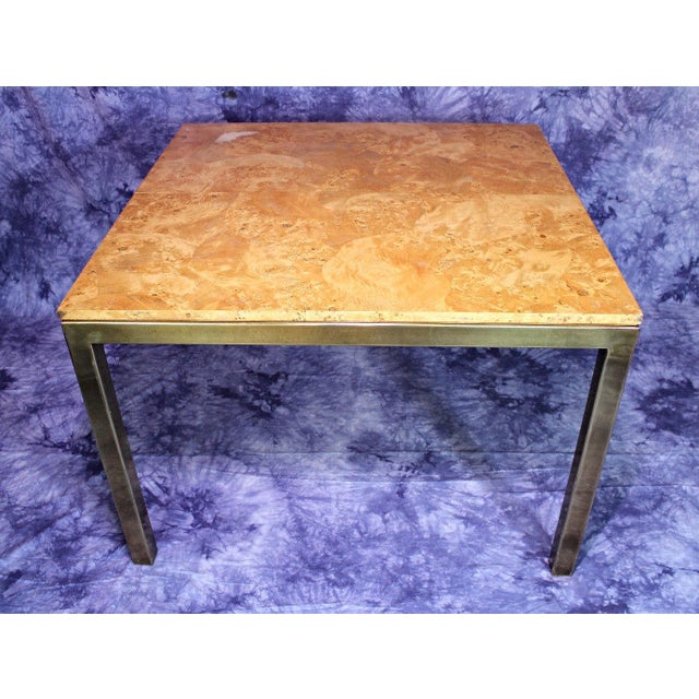Milo Baughman Style Burled Wood & Brass Square Dining Table For Sale - Image 9 of 10