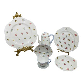Shelley Rose Pansy Forget Me Not Fine Bone China Breakfast / Luncheon Set For Sale