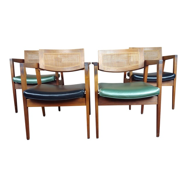Gunlocke 1960s Mid Century Modern Cane Back Arm Chairs -Set of 4 For Sale