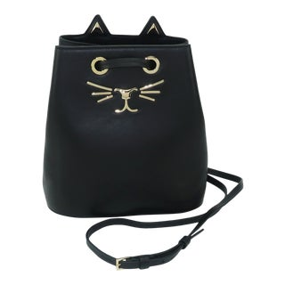 Charlotte Olympia Black Leather Kitty Bucket Handbag For Sale