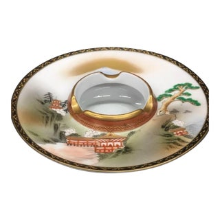 Japanese Landscape Painted Porcelain Ashtray