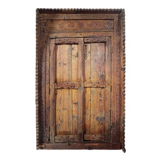 Late 19th Century Indian Hand Carved Doors and Frame For Sale