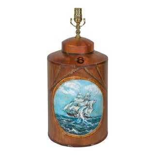 Vintage English Export Hand Painted Tea Caddy Lamp For Sale