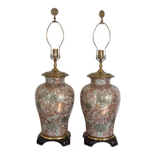 Set of Vintage Chinese Floral Lamps For Sale