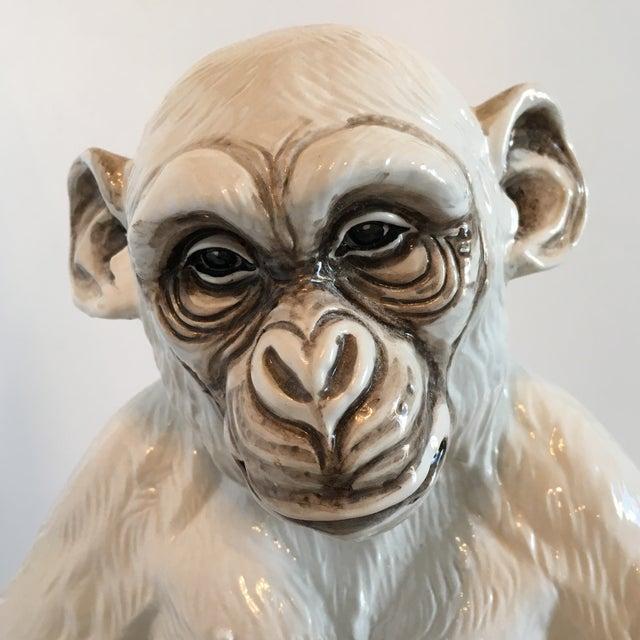 Cottage Italian Ceramic Monkey Statue For Sale - Image 3 of 8