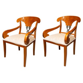 Austrian Biedermeier Cherrywood Armchairs - a Pair For Sale