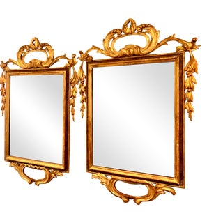 Italian Wood Carved Gilt Mirrors - a Pair For Sale