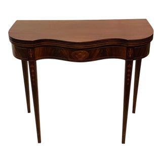 1940s Federal Mahogany Gate Leg Game Table For Sale