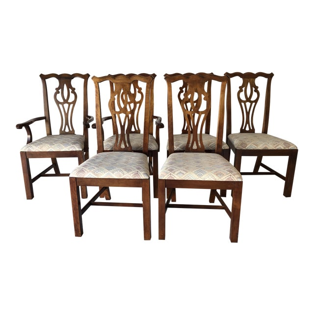 Thomasville Dining Chair Set (6) Fruitwood Excellent For Sale