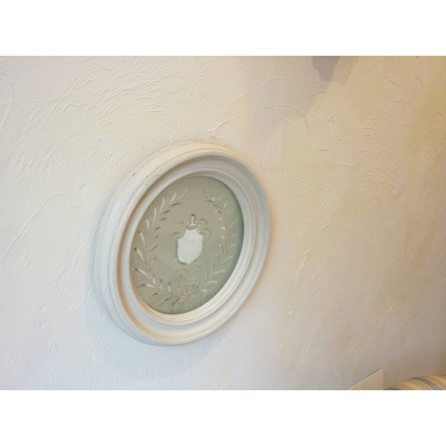 Heraldic Etched Round Mirror For Sale - Image 4 of 6