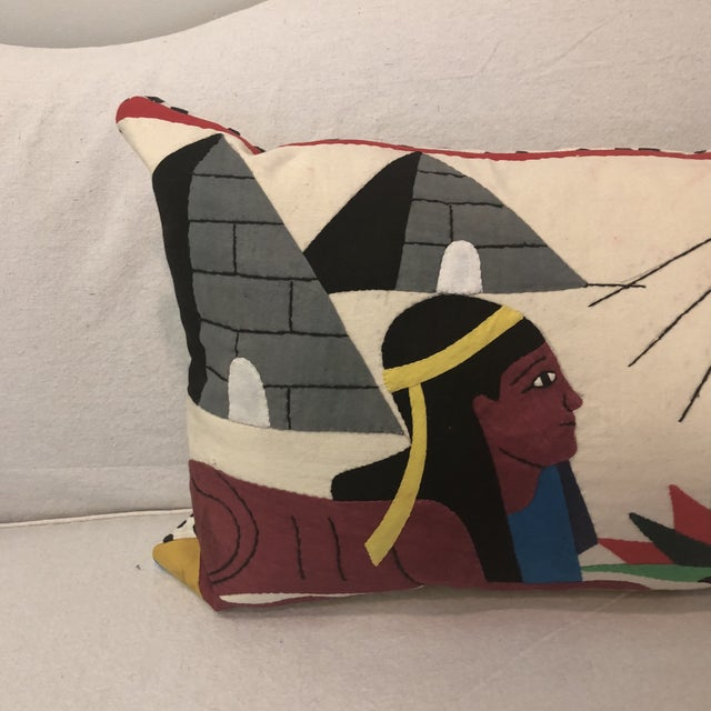 Gorgeous one of a kind pillow. Made from a vintage Egyptian textile wall art that I found and created into a custom...