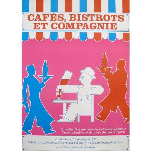 1977 Original Exhibition Poster - Centre De Création Industrielle, Cafés, Bistrots Et Compagnie For Sale