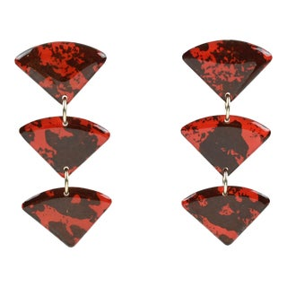 Dangling Lucite Pierced Earrings Red and Black For Sale