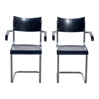 Pair of Chic Ebonized Modernist B43 Armchairs by Mart Stam for Thonet For Sale