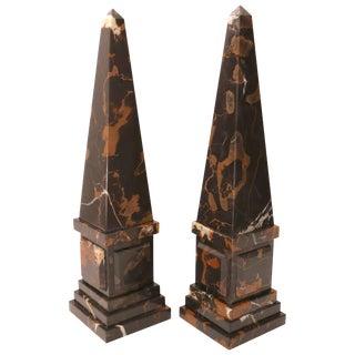 Neoclassical Revival Italian Portoro Marble Obelisks - a Pair For Sale