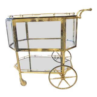 Vintage 1940s French Empire Style Glass & Brass Dessert Drinks Trolly Cart For Sale