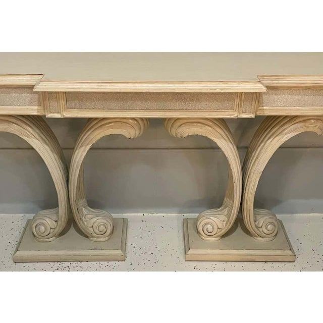 Hollywood Regency Hollywood Regency Fleur De Lis Double Pedestal Console Table For Sale - Image 3 of 10