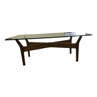 Teak & Glass Coffee Table, 1955 For Sale