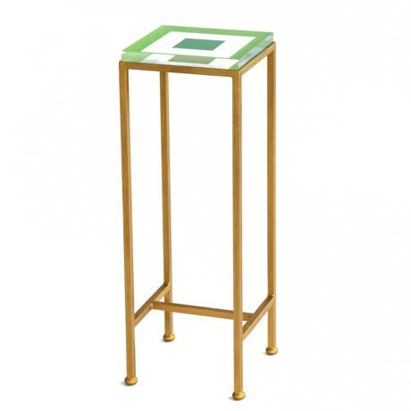 Wendy Concannon Contemporary Ellsworth Acrylic Drinks Table – Base: Gold, Top: Squares Lime/Kelly For Sale - Image 4 of 4