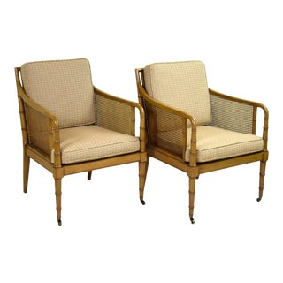 Hickory Chair Company Regency Style Faux Bamboo Caned Arm Chairs - a Pair For Sale