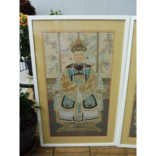 Late 19th Century Hand Painted Chinese Ancestor Portrait Paintings - a Pair For Sale - Image 5 of 13