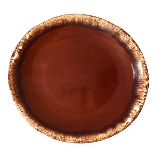 Mid 20th Century Vintage Hull Brown Drip Dinner Plate For Sale