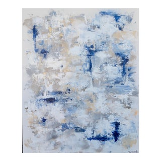 """Abstract Painting on Canvas """"Blue Rain"""""""