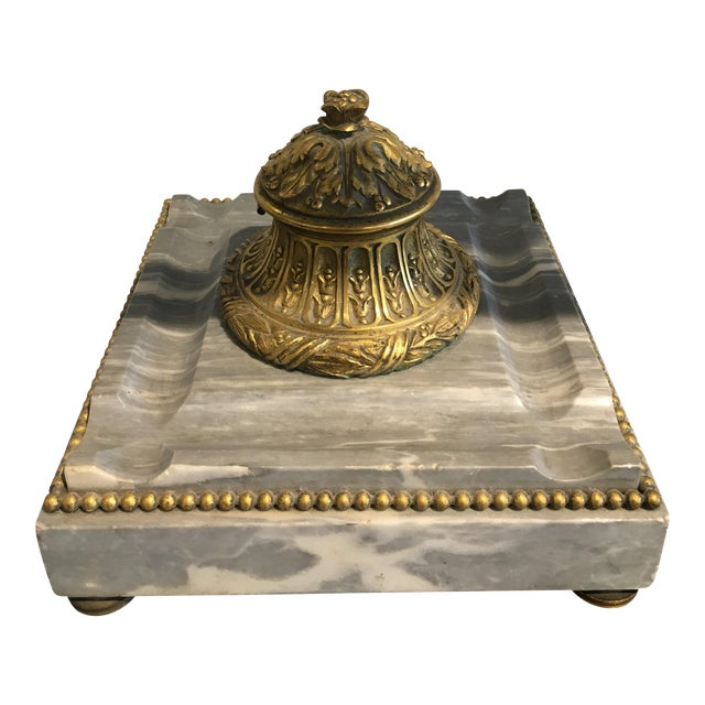 Antique Italian Onyx and Brass Inkwell - Image 1 of 6
