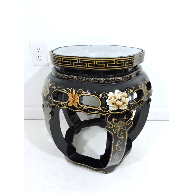 Vintage Chinese Black Lacquer Figural Side Table With Glass Top For Sale - Image 4 of 7