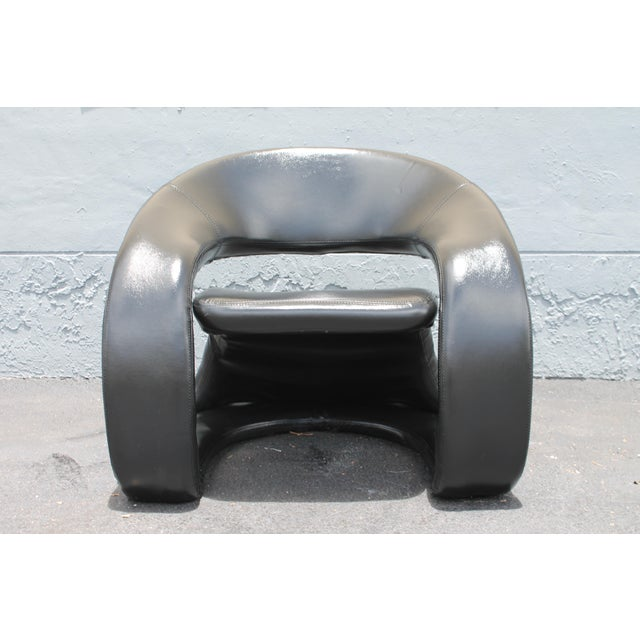 Vintage Mid Century Modern Futuristic Black Leather Club Chair For Sale - Image 10 of 11