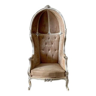 French Velvet Champagne Balloon Throne Chair For Sale