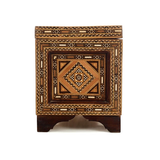 Wood Beautiful Moroccan Inlaid Vintage Trunk Chest W/Geometric Design For Sale - Image 7 of 10