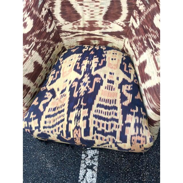 Chic Ikat print club chair. Down filled cushion. Gorgeous colors.