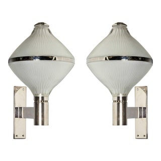 Mid century modern silver plated/clear frosted glass Lantern Sconces by Sergio Mazza for Artemide