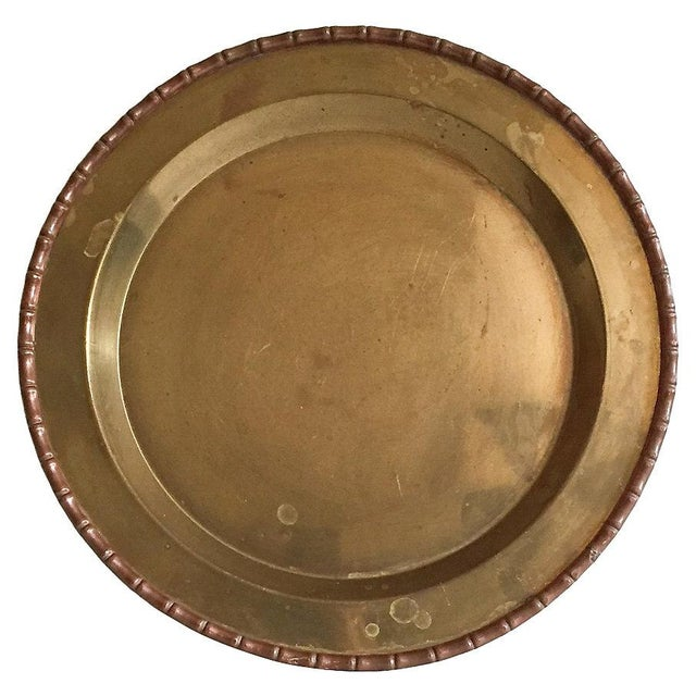 Bamboo-Style Round Brass Tray - Image 1 of 4
