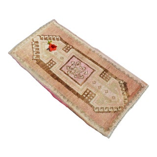 Low Pile Turkish Small Rug Hand Knotted Distressed Mat Bath Rug Entry Decor - 18'' X 35'' For Sale