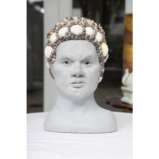 Grey Composition Bust with Custom Shell Decoration For Sale In West Palm - Image 6 of 6