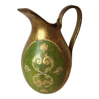 Vintage Florentine Green & Gold Pitcher For Sale