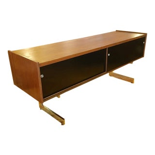 Mid-Century Cantilevered Walnut and Chrome Credenza by Opus Canada For Sale