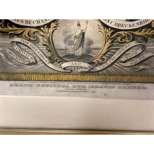 Buchanan & Breckenridge, 1856 Grand National Democratic Banner, by N. Currier Rare hand-colored lithograph with American...
