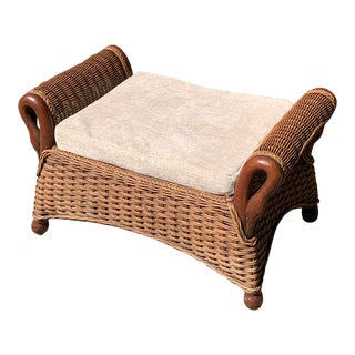 1940s Wicker and Bentwood Ottoman For Sale